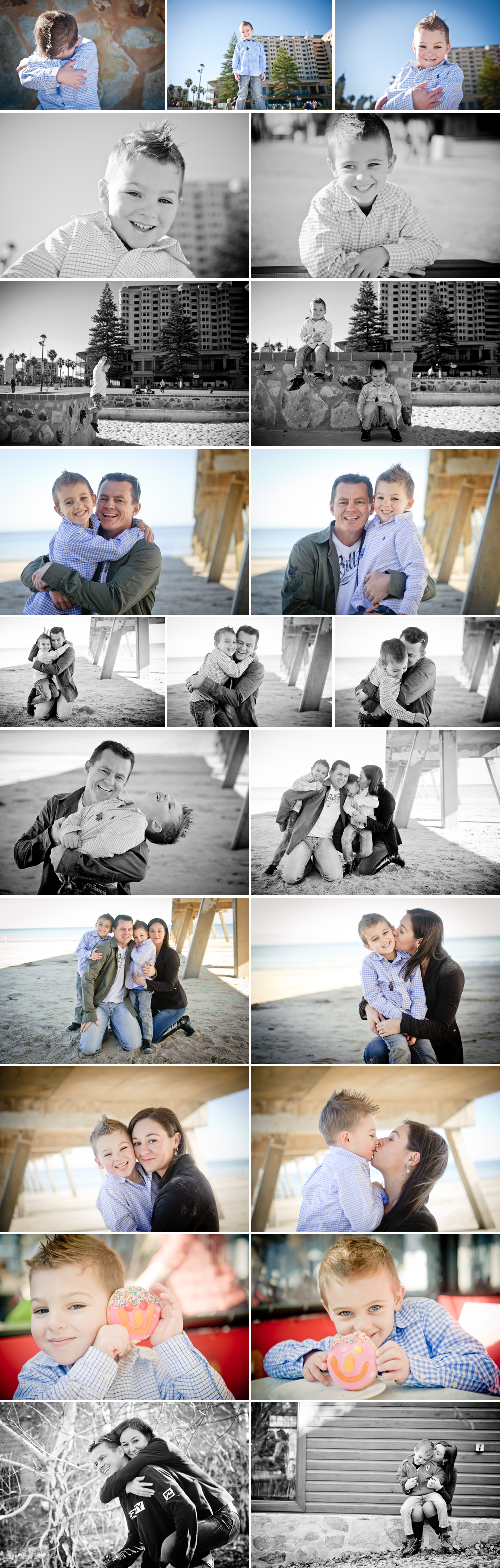 Family-on-holiday-having-photos-at-beach-in-Adelaide