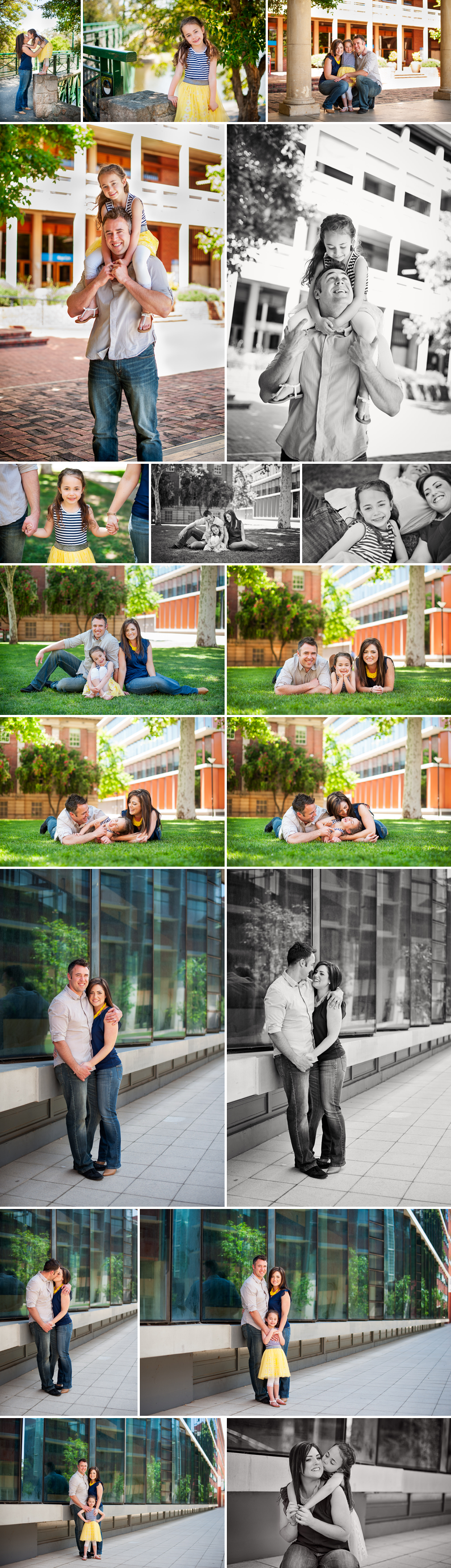Collage of photos of a family of three being photographed at the Adelaide University