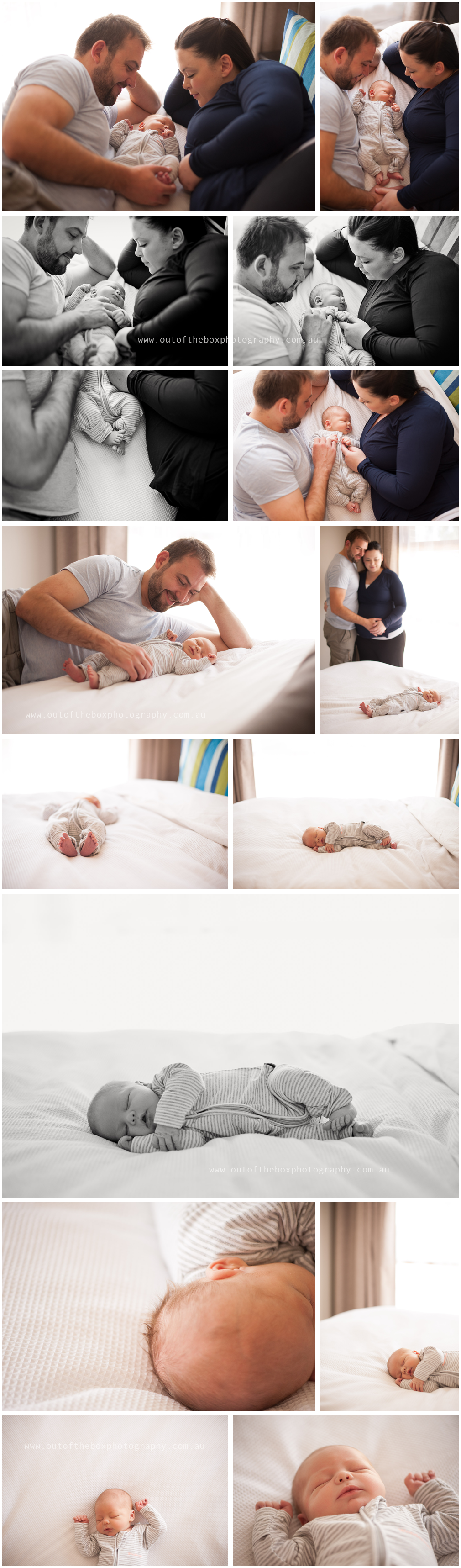 Newborn baby boy at home with his family